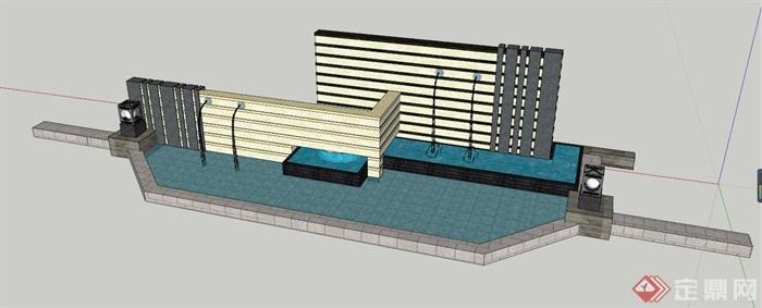 中式水景墙组合设计su模型