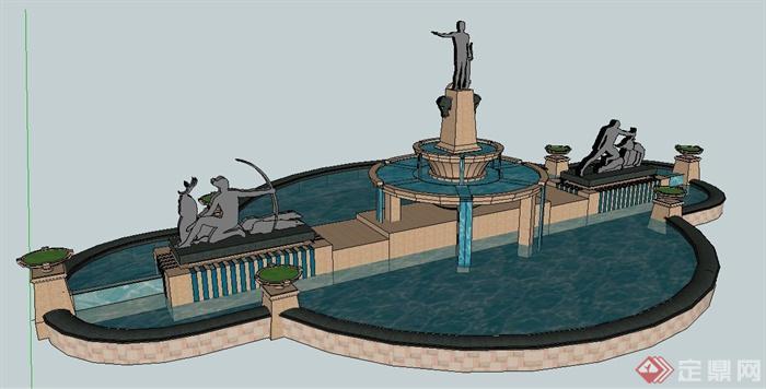 现代人物雕塑跌水景观su模型