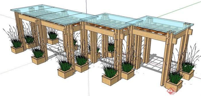 现代组合玻璃木廊架su模型(1)