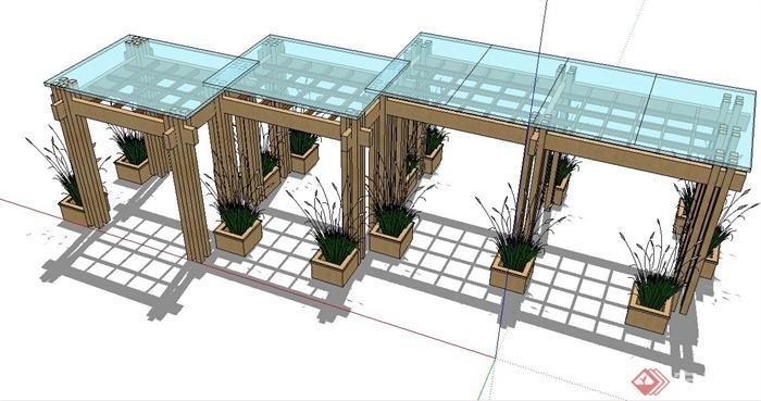 现代组合玻璃木廊架su模型