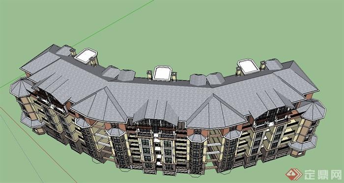 某欧式五层弧形联排住宅公寓建筑设计su模型