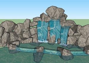 园林景观置石水景设计SU(草图大师)模型