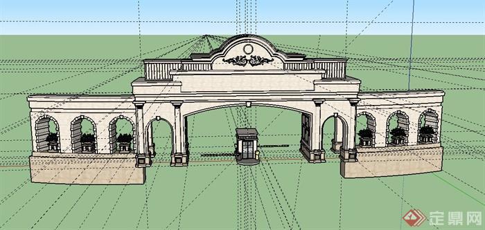 欧式风格住宅入口大门设计su模型