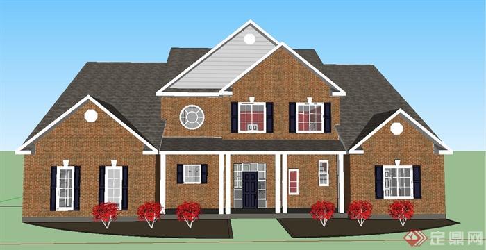 某两层欧式风格乡村住宅建筑设计su模型