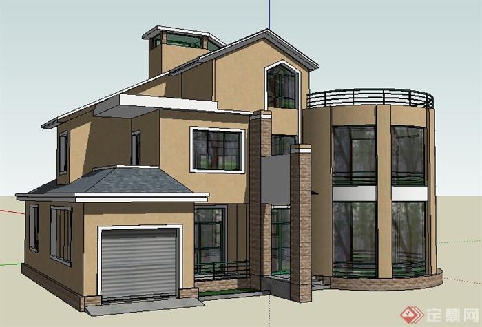 现代简约风格三层别墅建筑设计su模型