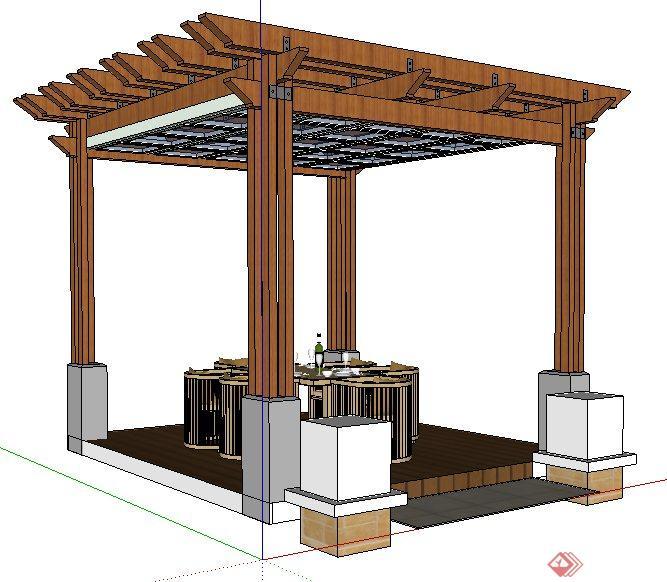现代简约中式木亭及餐桌椅su模型