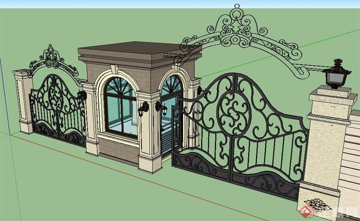 欧式风格铁艺大门及标志墙su模型