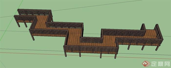 园林景观木栈道设计su模型(1)