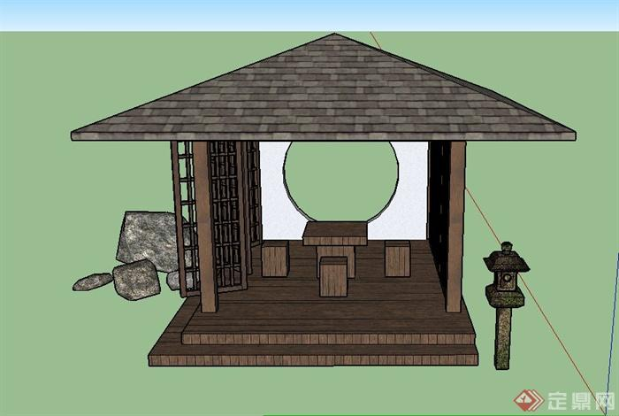 古典中式四角方亭设计su模型