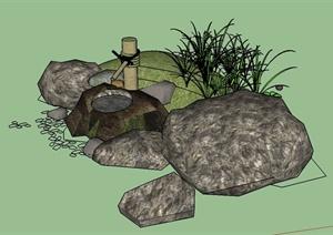 园林景观景石小品设计SU(草图大师)模型