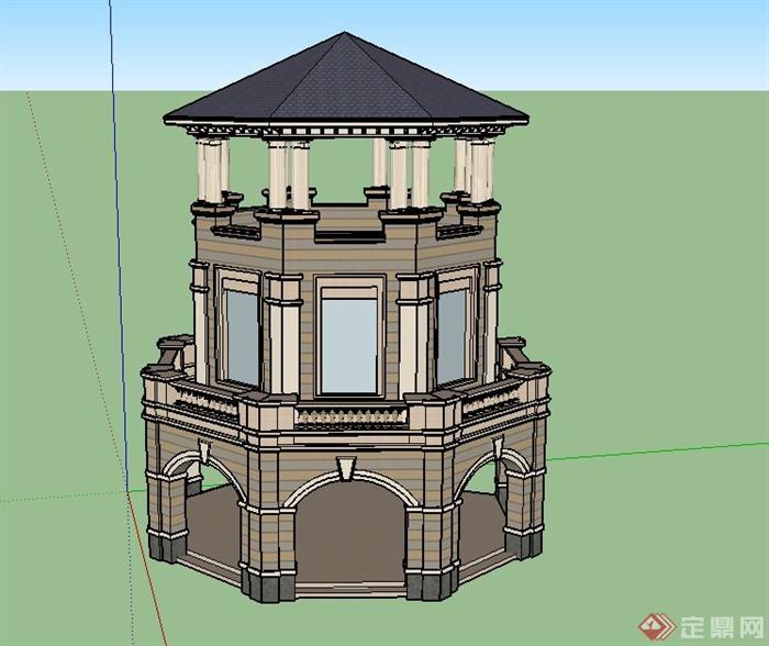 欧式风格三层塔楼建筑设计su模型(1)