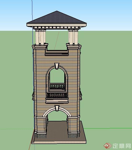 欧式方形三层塔楼建筑设计su模
