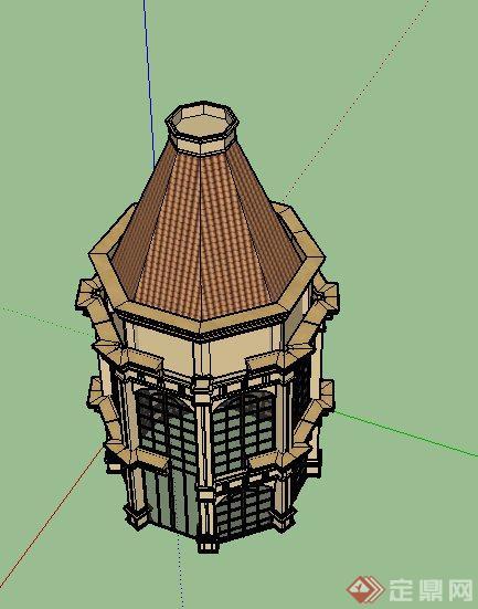 某欧式圆锥形两层塔楼建筑设计su模型