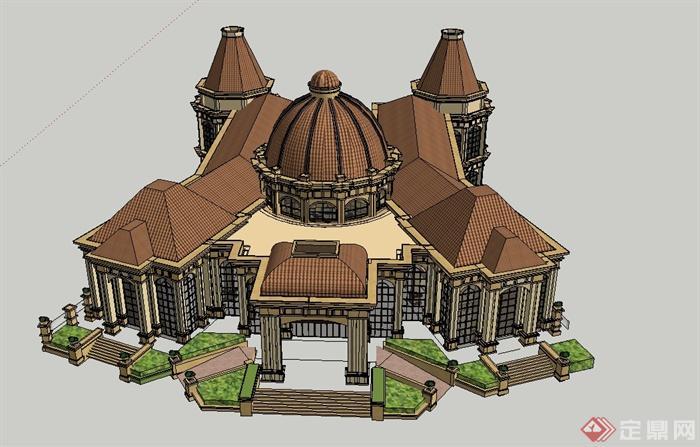 某欧式组合式商业会所建筑设计su模型