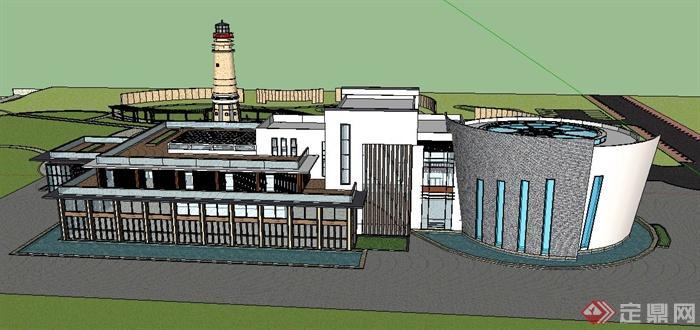 现代新中式风格两层办公楼建筑设计su模型(1)