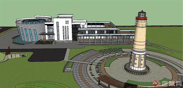 现代新中式风格两层办公楼建筑设计su模型(3)