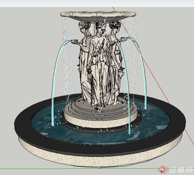 欧式风格人物雕塑跌水景观su模型