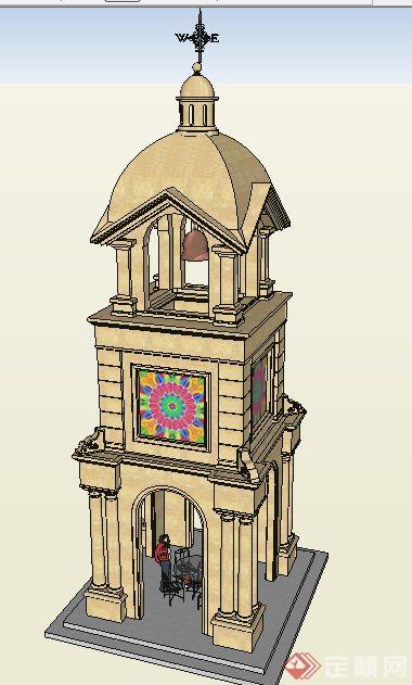 欧式风格塔楼钟楼设计su模型