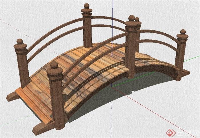 现代中式木制小拱桥su模型