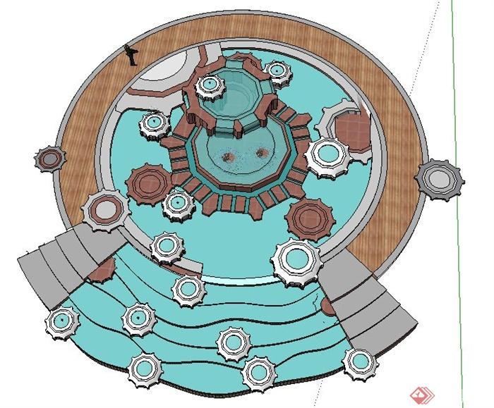 现代机械风格叠水喷泉水景su模型(3)