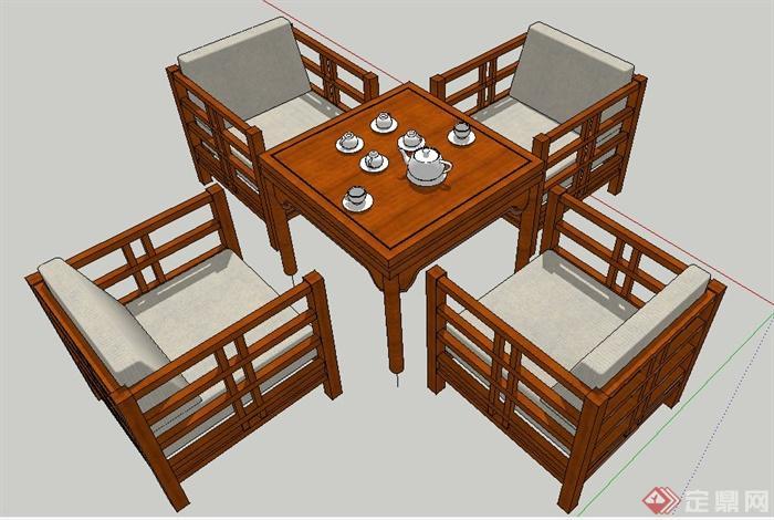 现代中式风格木制茶桌椅su模型