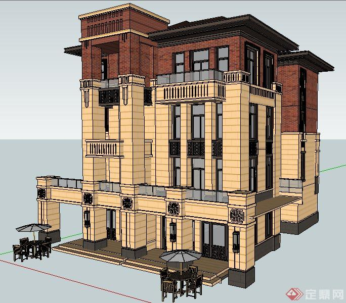 法式风格四层住宅别墅建筑设计su模型[高压线景观设计图片