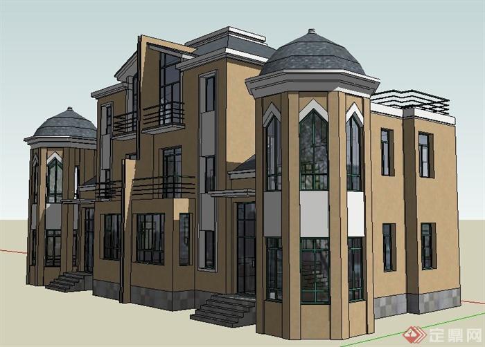 现代风格二层半拼接别墅建筑设计su模型