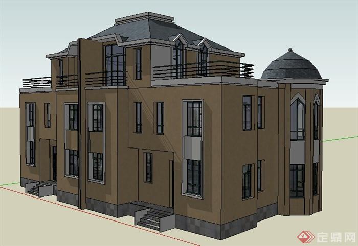 现代风格二层半拼接别墅建筑设计su模型(2)
