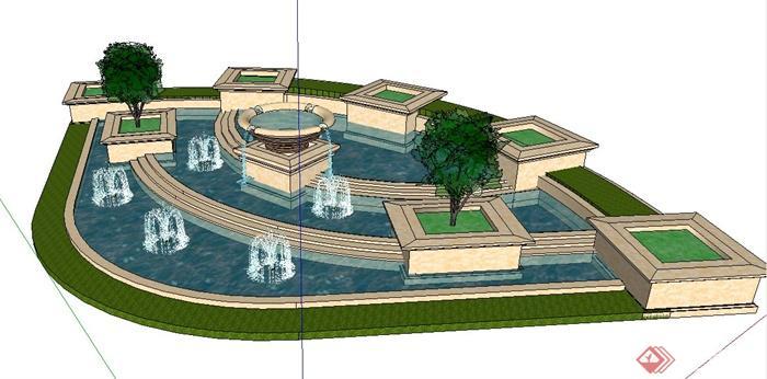 现代风格转角处喷泉叠水景观su模型