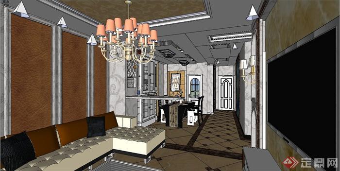 某欧式住宅空间室内装修设计su模型[原创]图片