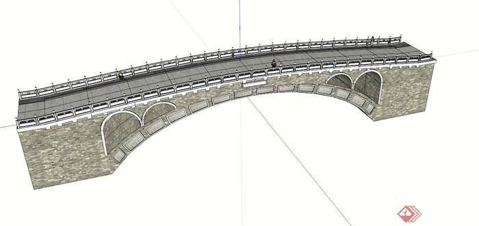 现代石拱桥设计su模型
