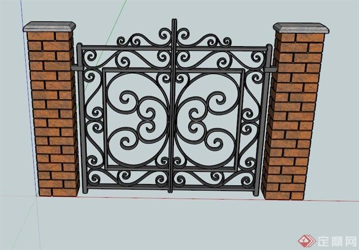 欧式铁艺大门设计su模型