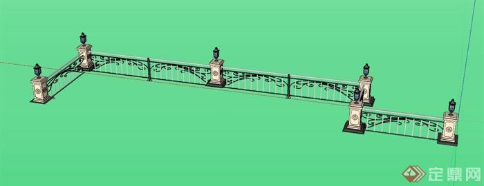 欧式围栏灯柱组合设计su模型