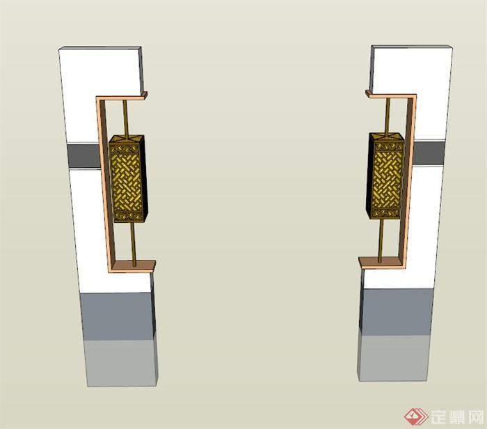 中式景观灯柱设计su模型