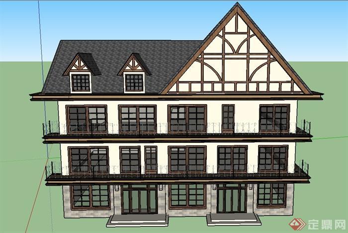 某欧式三层阁楼式餐饮店建筑设计su模型