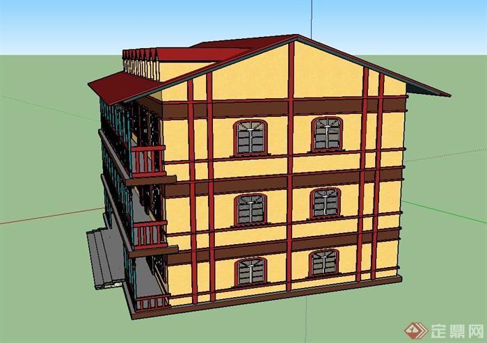 某欧式三层联排商业建筑设计su模型