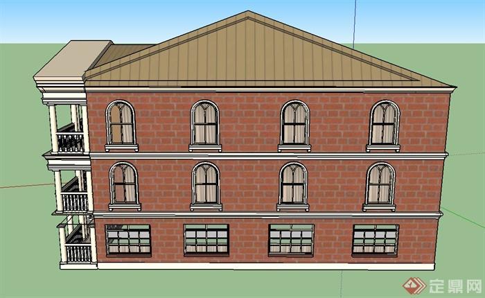 某欧式三层咖啡馆建筑设计su模型