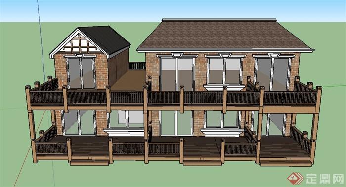 某两层欧式风格住宅建筑设计su模型
