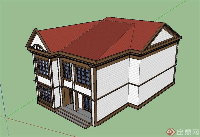 某欧式风格两层方形住宅建筑设计su模型(2)