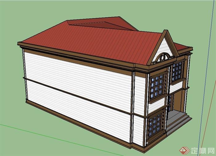 某欧式风格两层方形住宅建筑设计su模型(3)
