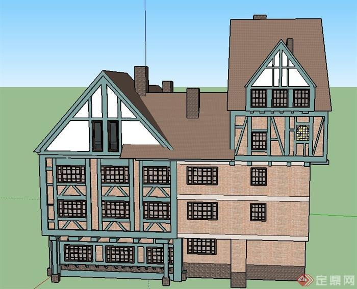 某欧式风格三层方形商业建筑设计su模型