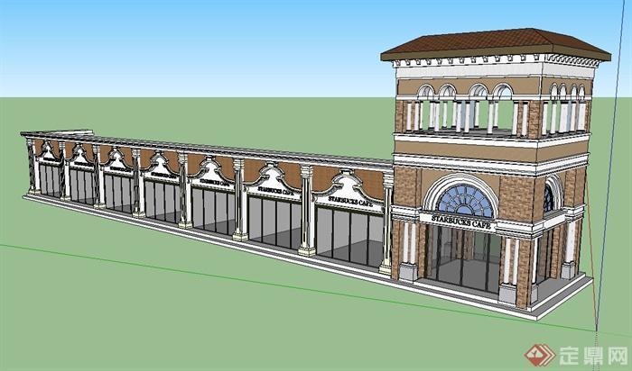 某单层欧式风格商铺建筑设计su模型
