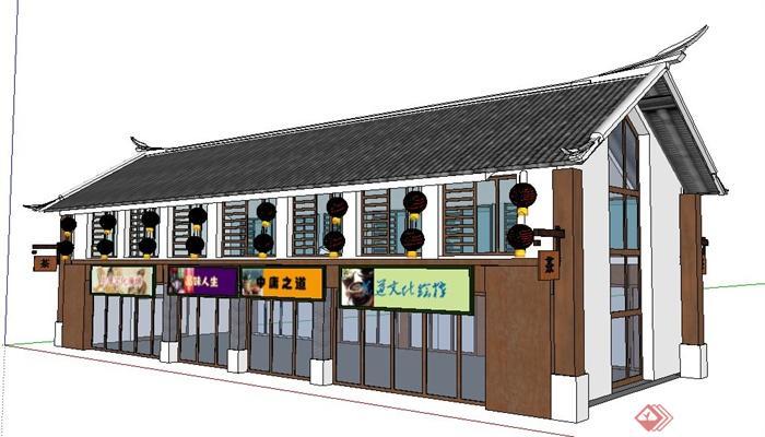 现代新中式二层沿街商铺建筑设计su模型高清图片
