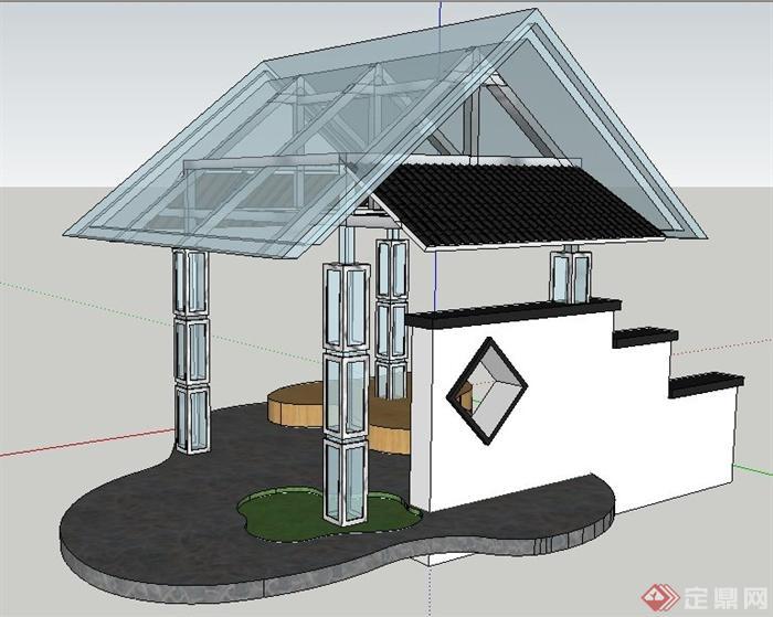 现代简约中式玻璃凉亭su模型(2)