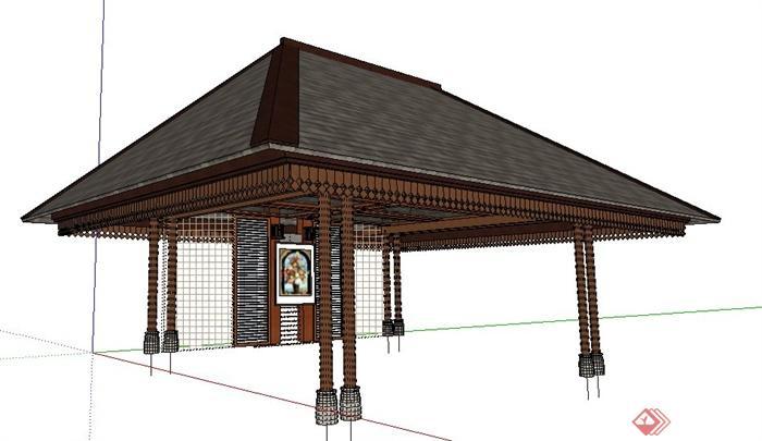现代中式风格四角凉亭su模型图片