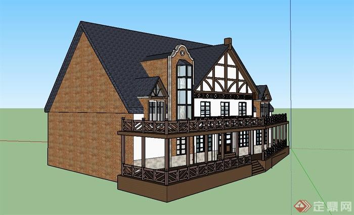 某欧式两层带阳台住宅建筑设计su模型