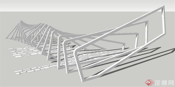 现代四边形螺旋创意廊架su模型