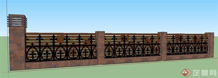 现代风格铁艺木制围墙su模型