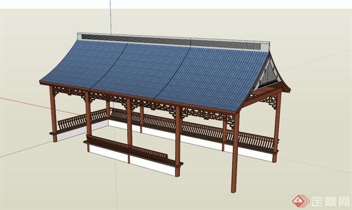 中式三角顶廊架设计su模型