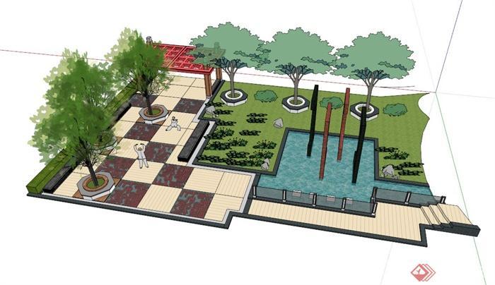 小广场景观节点组合设计su模型